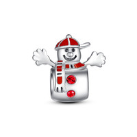 2018 Christmas Holiday Fashion Charm Solid 925 Silver Cool Snowman Charm