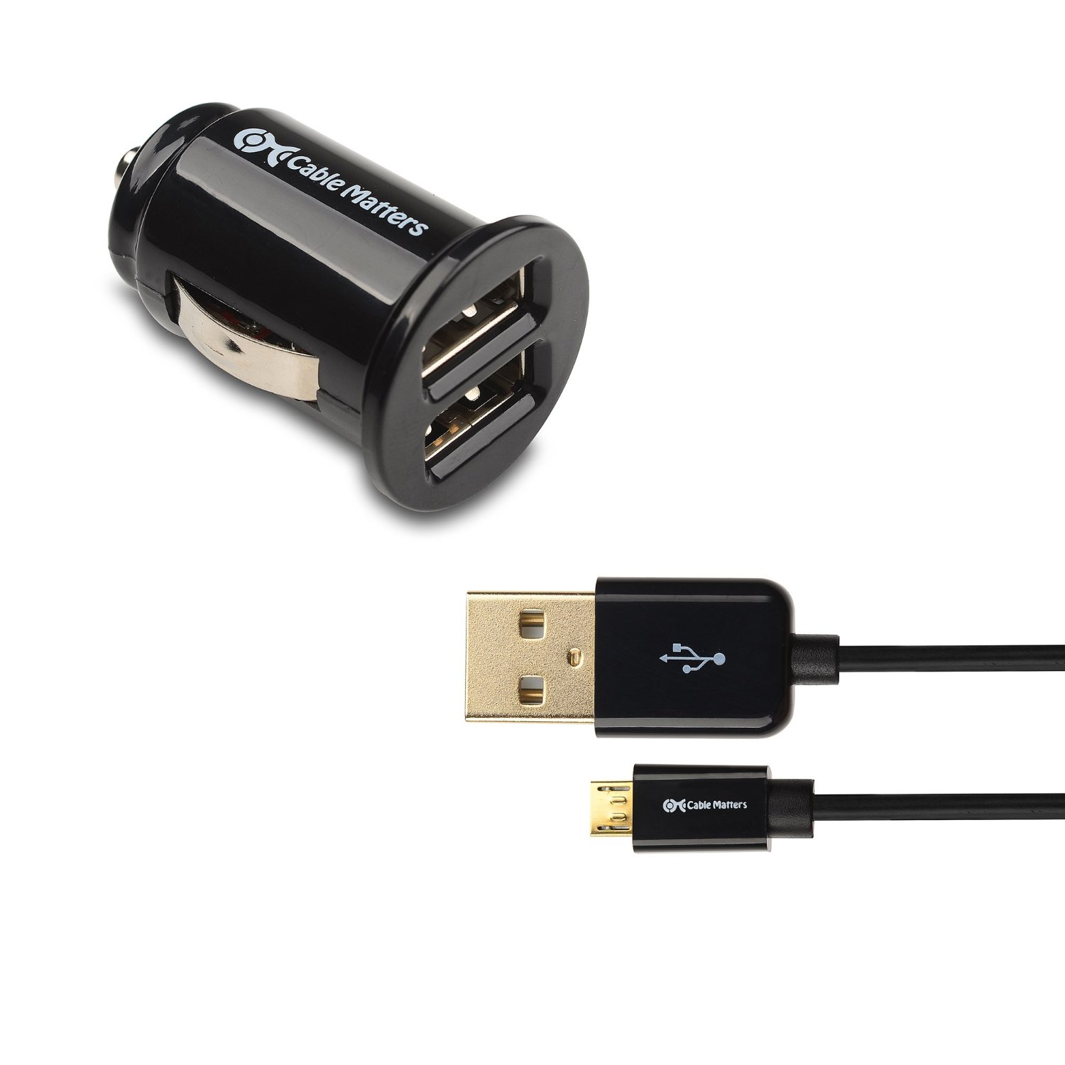 Cable Matters 10W 2A Mini USB Car Charger & Micro-USB Cable in Black