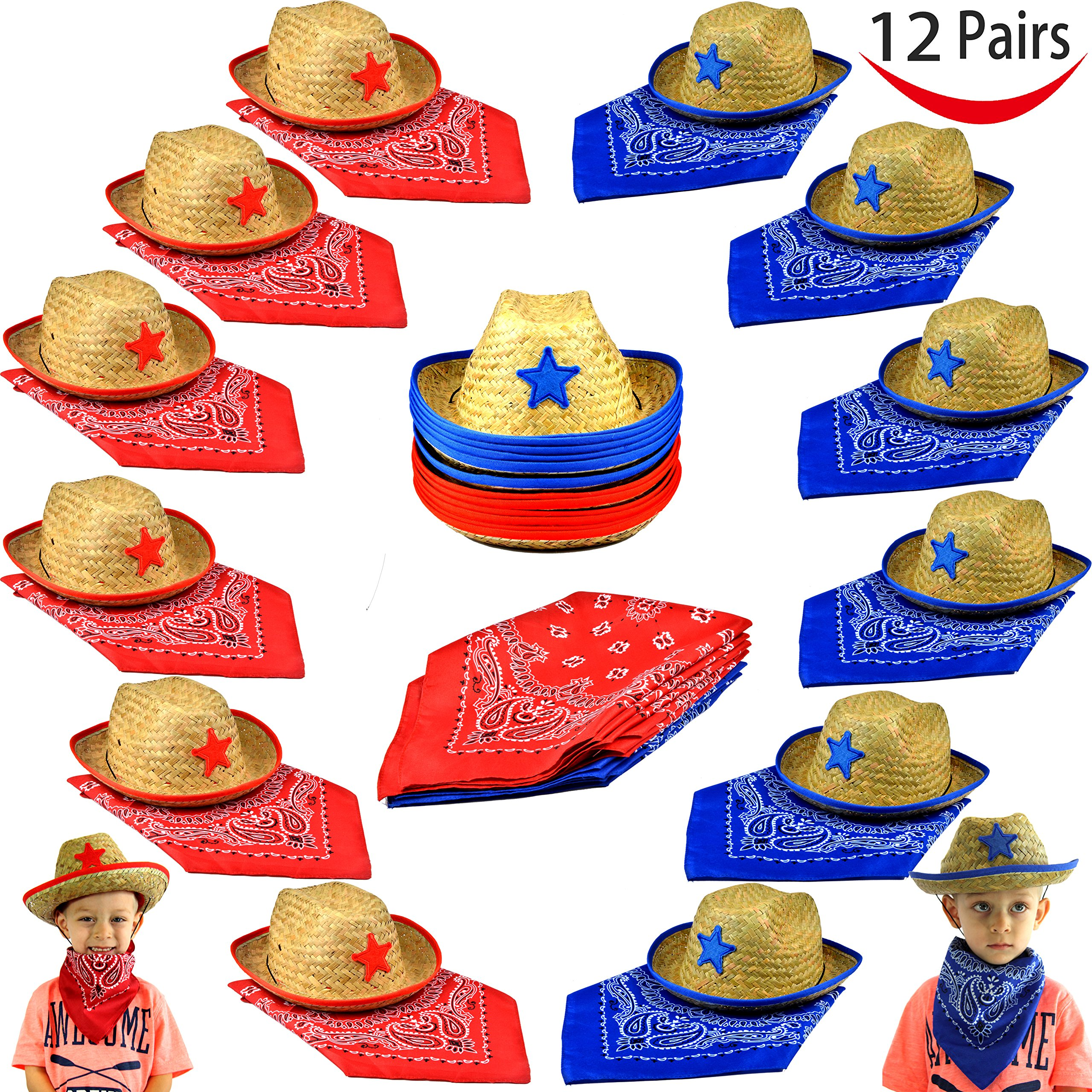 ef2817af083d9 Get Quotations · Pack of 12 Childs Straw Cowboy Hats with Cowboy Bandannas  (6 red   6 blue
