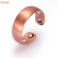 Online wholesale minimalist Arc surface pure copper adjustable magnetic men's ring with 4 magnets for finger joint healthcare