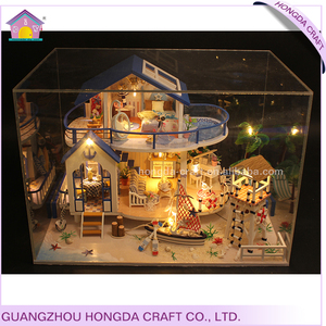 New arrival dollhouse wooden house model diy educative toys french for kids