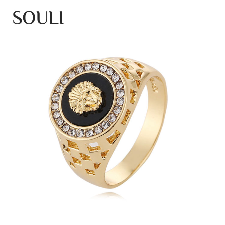 Animal Ring Design Luxurious 18K Gold Plated Crystal Lion Head Men's Ring