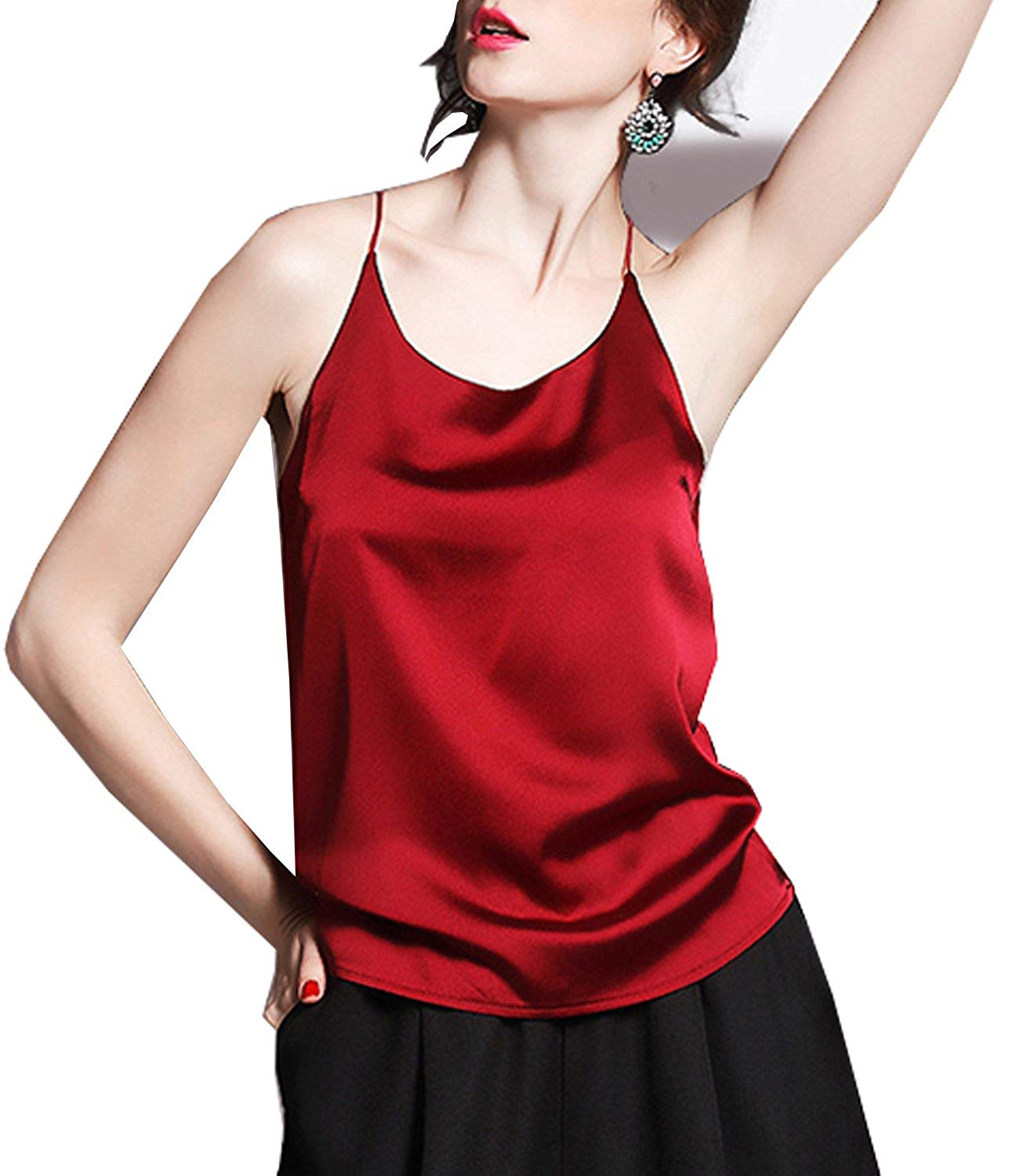 7052338c48c ... Pajama Lingerie Printing Cami Tops and Shorts. null. null. Get  Quotations · Ayervici Womens Soft Silk Camisoles Spaghetti Strap Summer  Cami Tank Tops