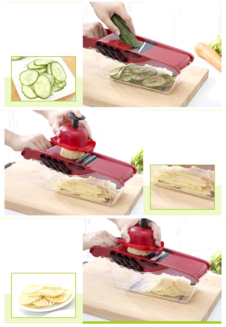 Two Color Optoinal  Stainless Steel Vegetable And Fruit Cutter Shredder Julienne 6 Different Shape Blades Mandoline Slicer