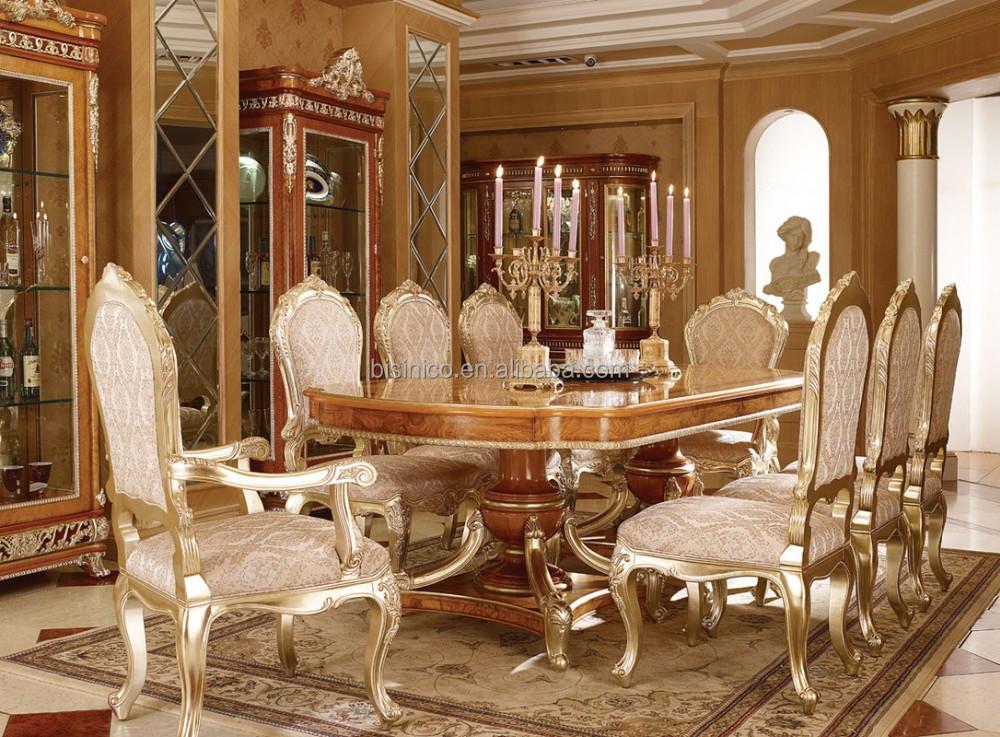 Estilo vintage de la hoja de oro muebles elegante for Sala comedor comedor rectangular