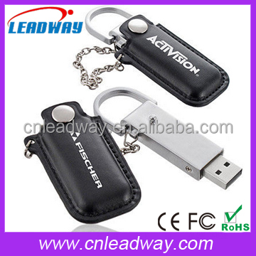Leather Holder USB2.0 Flash Drive with Key-Chain