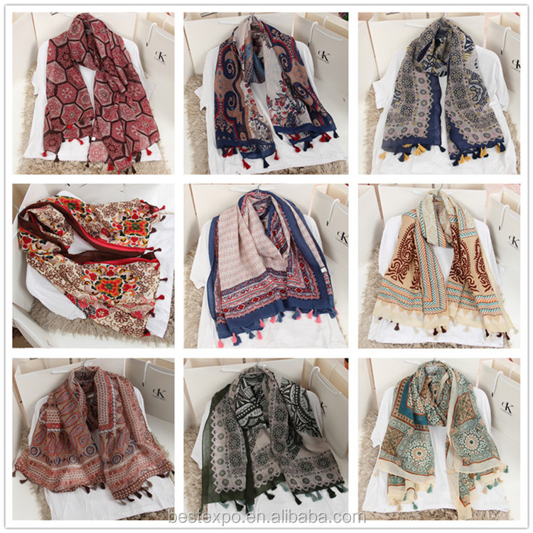 2017 wholesale new spring shawl girl tassel ethnic wind cotton silk scarves turkish hijab