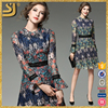 Custom printed 2016 summer round neck fashion women dress