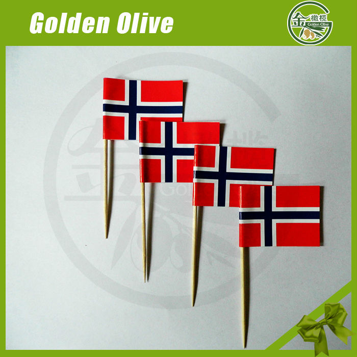 2017 hot sell printed mini national flags with toothpick