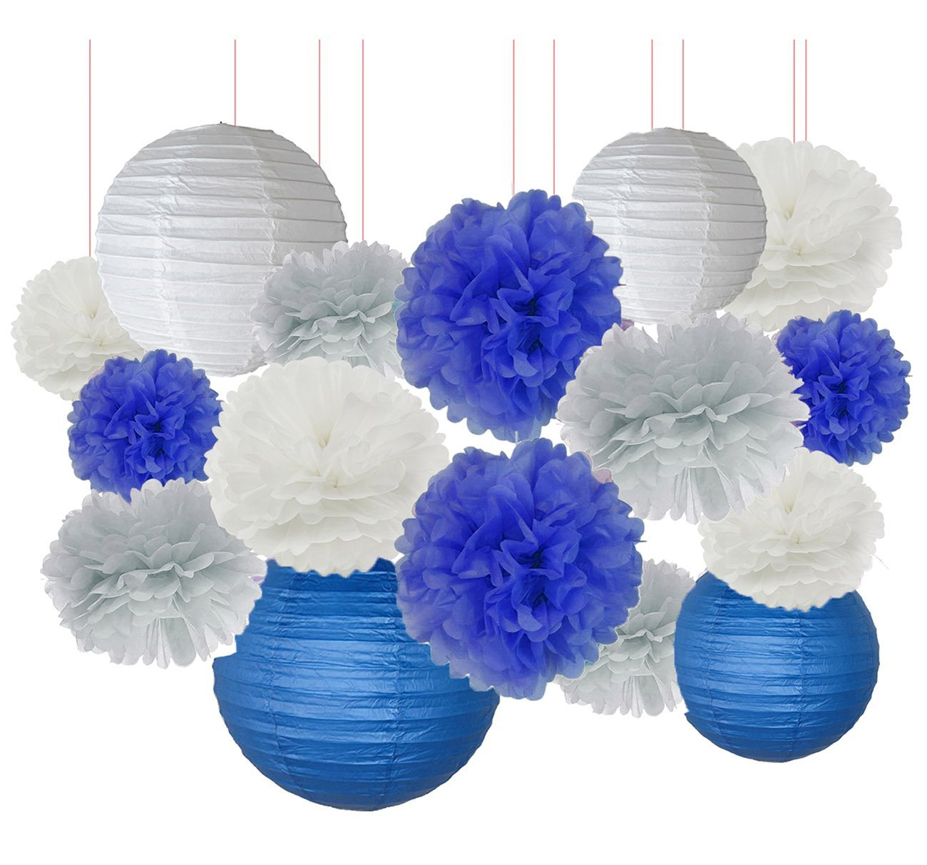 Furuix Bridal Shower Decorations 16 pcs White Navy Blue Grey 10inch 8inch Tissue Paper Pom Pom Paper Lanterns Mixed Package for Blue Themed Party Baby Shower Decoration (White Navy Blue)