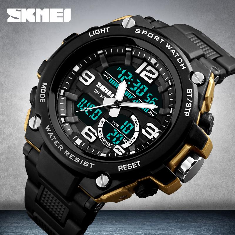 Skmei 1340 Brand Fashion Double Time Analog Digital Led Clock Countdown Chronograph Men Outdoor 50M Dive Waterproof Quartz Watch