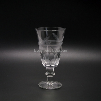Unique Hand Cutting Wine Glass Crystal Glass Goblet With Short Stem