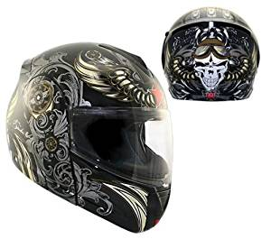 4ce24e43 Get Quotations · Advanced Hawk Aviator Skull Dual Visor Full Face Modular  Motorcycle Helmet - Small
