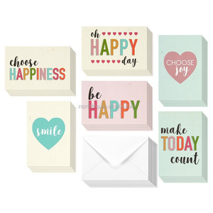 Wholesale custom printing fashionable paper happy Assorted blank note gift card