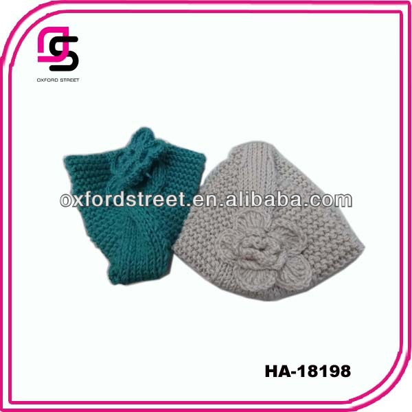 2014 Fashion acrylic ear warmer knitted headband pattern knit headband with flower