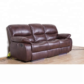 Promotion Brown Leather Recliner Sofa Set