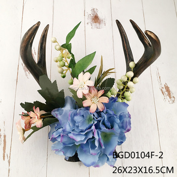 2017 new product resin deer antler wall art floral deer antler for wall decor