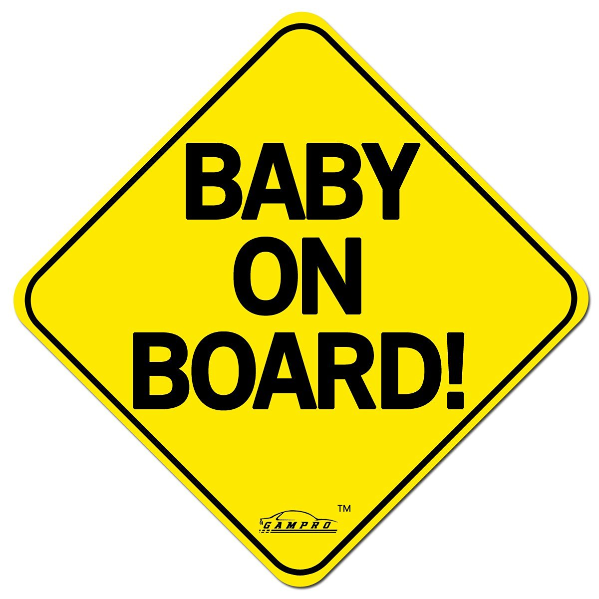 """GAMPRO """"BABY ON BOARD"""" Reflective Vehicle Bumper Magnet, Reflective Vehicle Car Sign Sticker Bumper for New Parents, Reduce Road Rage and Accidents for New Parent and Baby(1 Pack)"""