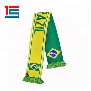 Custom acrylic knitted jacquard Brazil Country football team fans scarf