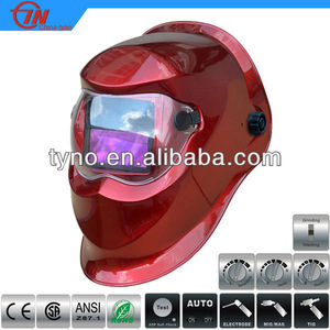 TUV CE Welding Helmet With Bead Light Red Design