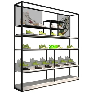 Modern shoes shop interior design,flooring wooden shoes shop display,2 sides shoes display shelf