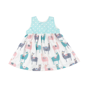 Woven Cotton Printed Animal Kids Clothes Summer Sleeveless Girls Dresses