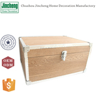 Aluminum and wooden storage trunk box