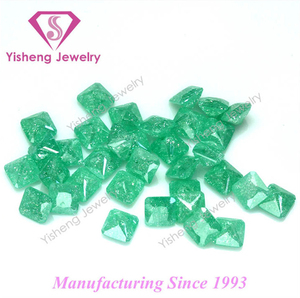 Lab Grown Diamond Square/Oval/Drop Green Ice Crash Stone Cubic Zirconia