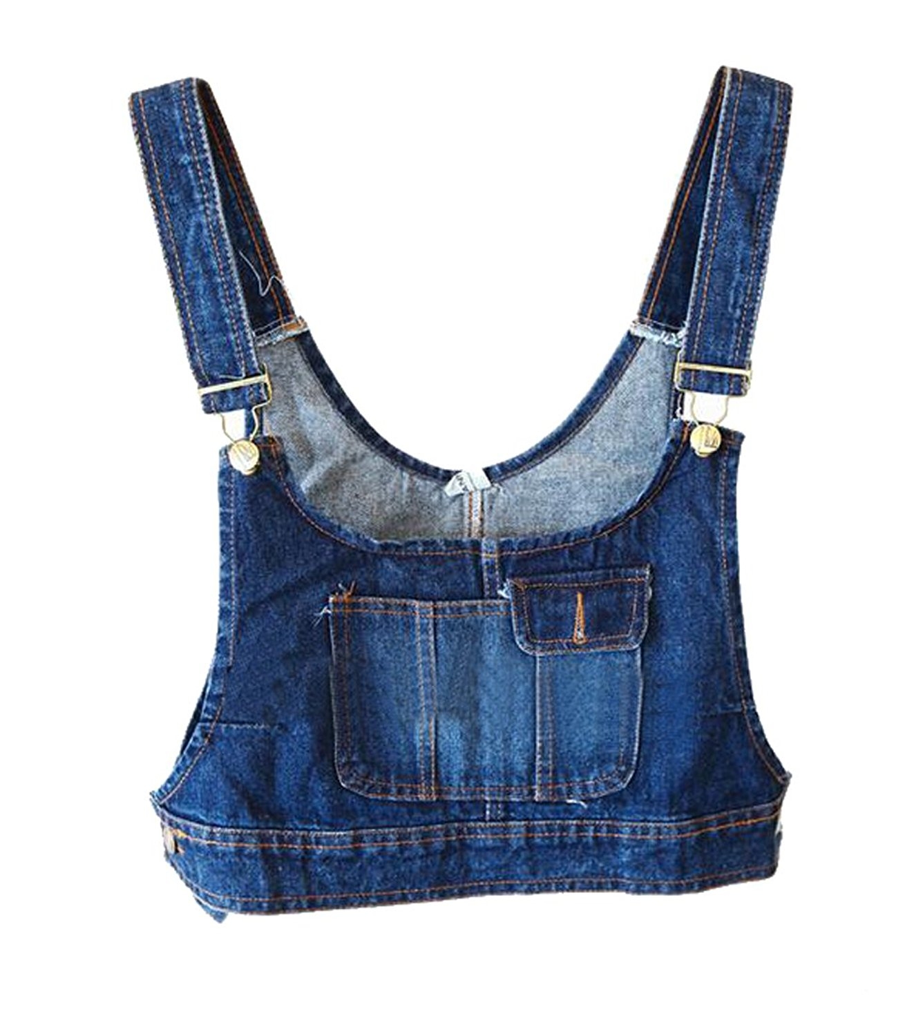 8b851dc1f20 Get Quotations · LD Womens Vintage Girls Bib Slim Fit Denim Jeans Vest Crop  Top Jacket Waistcoat