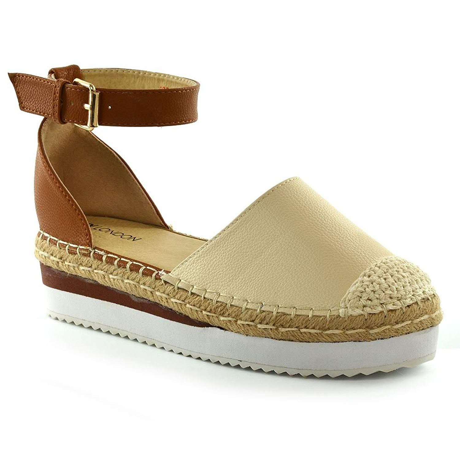 b6ee526eb0b ESSEX GLAM Womens Platform Sandals Ladies Low Wedge Heel Summer Espadrilles  Shoes