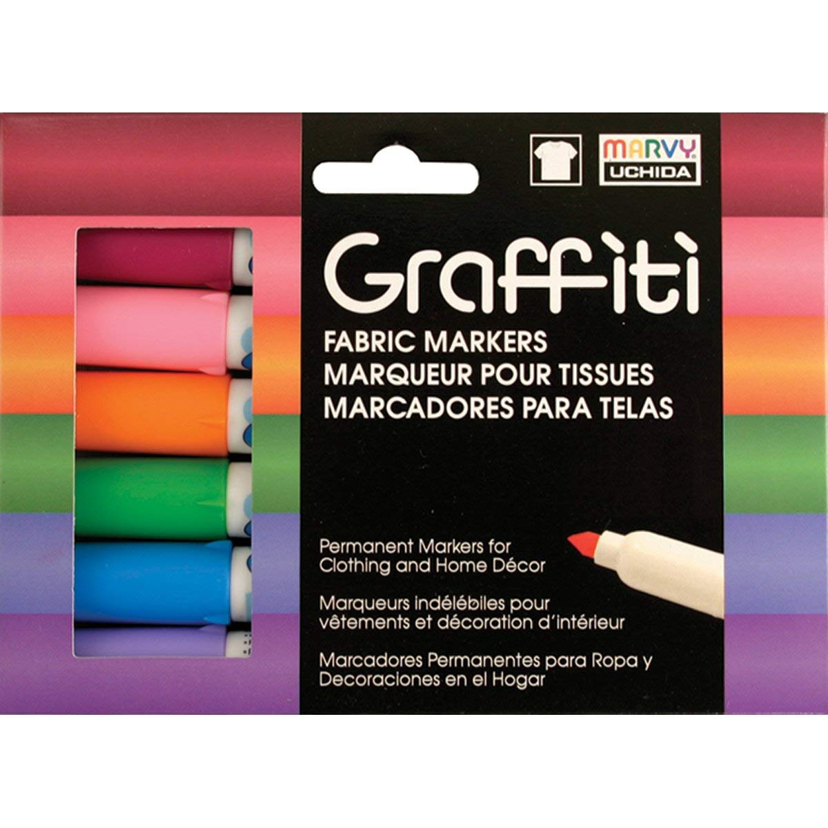 Coloring Tulip Graffiti Fabric Markers Bullet Tip 6pk Writing on Clothes Child Safe Drawing Rainbow for Fabric Painting Permanent Premium Quality Ink