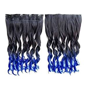 TOOGOO(R)Colorful Hair Extensions 130g 60cm/24inch heat resistant fantastic Synthetic Long Clip in Hair Extensions Women hair 5 clips one piece hair extensions (Curly, Black + Blue)