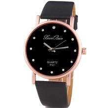 New Design Fashion Style Women's Diamond Case Leatheroid Band Round Dial Quartz Wrist Watch free shipping