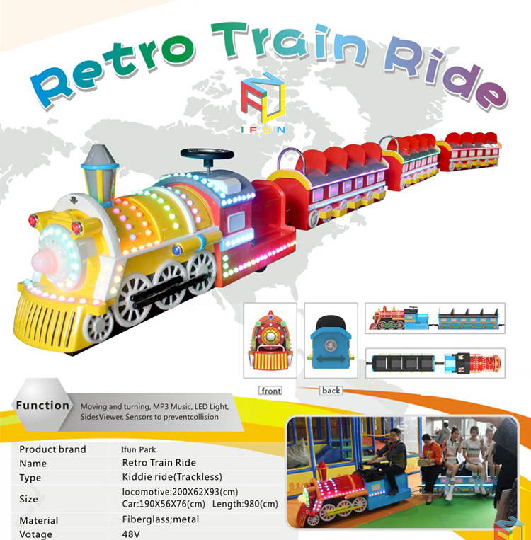 Sightseeing Train Carriage Kids Amusement Park Electric Tourist Trackless Train