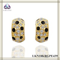 Italian Gold Earrings Black Color Paint With Clear Stone Setting Earrings For Women