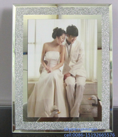 China direct wholesale crystal glitter glass mirror photo frame 5*7 glass picture frame for wedding gift