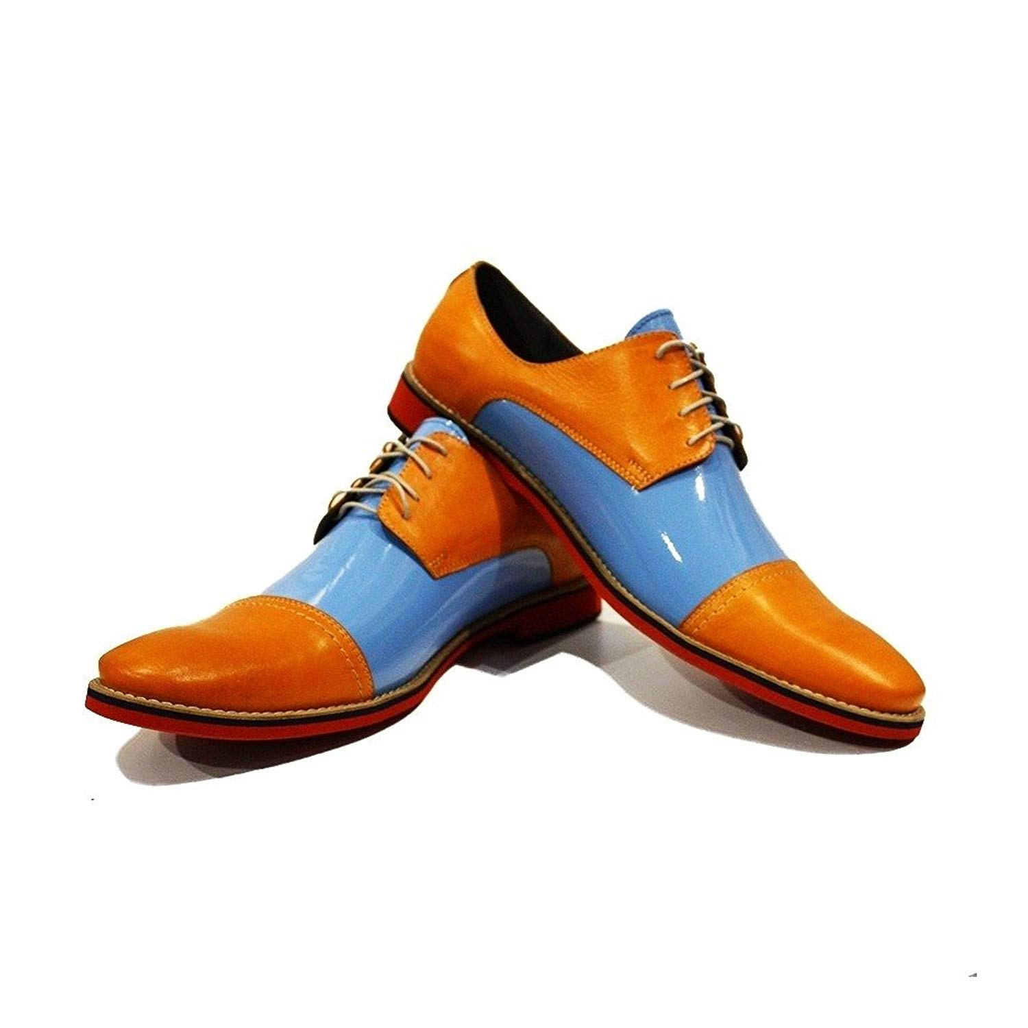 Modello Vito - Handmade Italian Mens Orange Oxfords Dress Shoes - Cowhide Patent Leather - Lace-up
