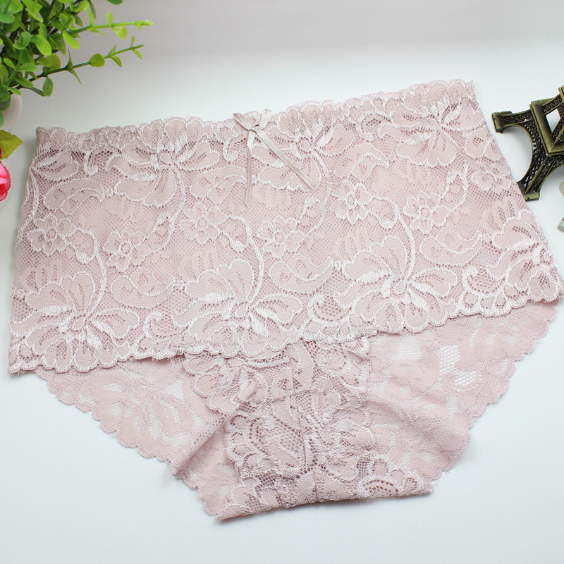Women's Fashion Transparent Sexy Flowers Lace Panties Seamless Plus Size Panty Briefs Underwear