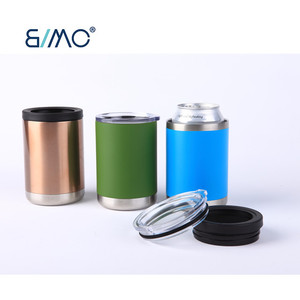 2 in 1 Stainless Steel Vacuum Insulated Lowball Tumbler Can Cooler Beer Cooler Wine cooler with 2 option lids
