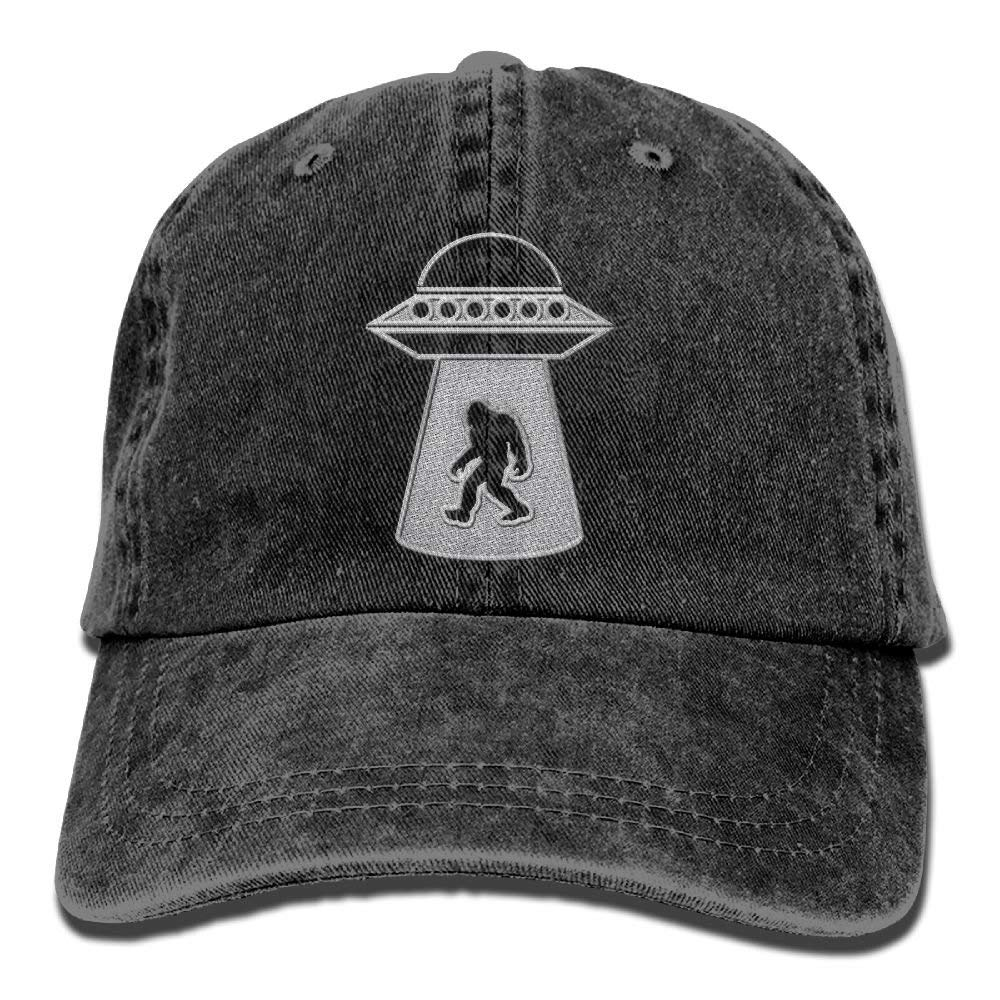 a72b170c Get Quotations · Bigfoot UFO Abduction - Embroidered Retro Denim Baseball  Hat Trucker Hat Dad Hat Adjustable