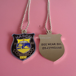 metal shiled shape soft enamel HASCO THE BEST school dog tag necklace