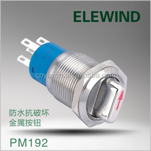 ELEWIND 19mm DPDT illuminated metal selector <strong>switch</strong> 3 position(PM192F-22X/31/R/12V/S/IP65)