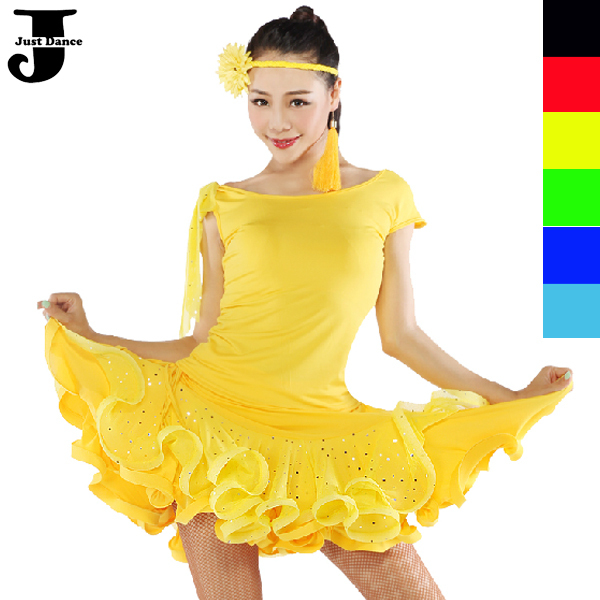 Get Quotations · Latin Dance Costumes For Women 2 Pcs Top Skirt Bright Spot  Yarn Vestido De Baile Latino Cha a17adab635f2