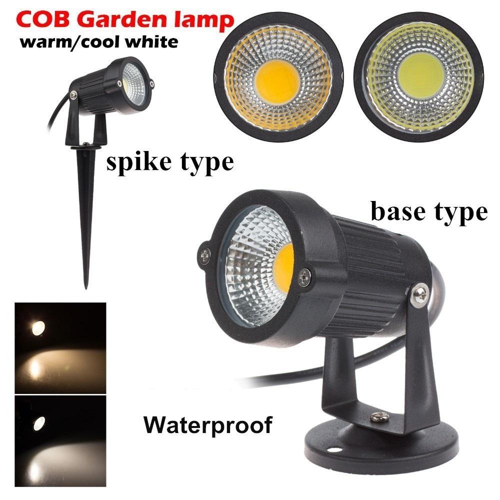 3w 5w 7W 9W Outdoor Garden 220V AC LED Lawn COB LED Spike Warm white IP65 Pond Landscape Spot garden led path light
