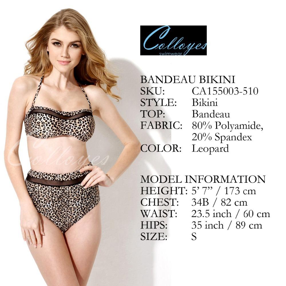 Colloyes бренд леопарда высокая талия комплект бикини плавайте носит купальник CA151002-510