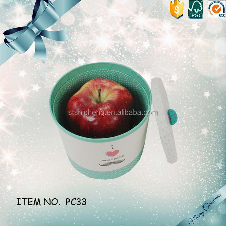 Christmas round lid cylinder apple gift box