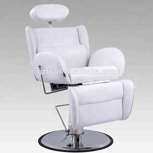 Luxury salon furniture beauty white comfortable men's barber chair portable all purpose hair salon reclining styling chair