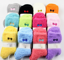Girls Bed Socks Solid Color Warm Winter Kids Gift Soft Floor Thicken Socks