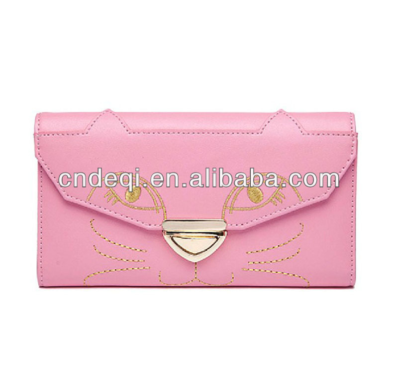 2014 new designer embroidered cute PU leather wallets for European and American markets