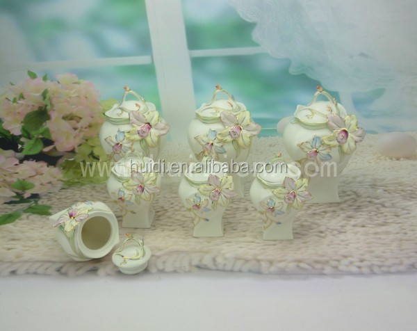 High stand wholesale ceramic cookie jar set with flower design for home